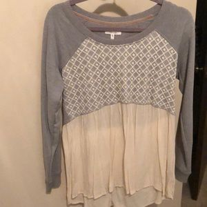 Maurice's grey and cream sweater blouse size M